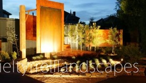 A contemporary Australian garden glows in the dsuk light thanks to added selective lighting