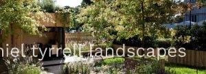 Pretty garden surrounds a backyard office